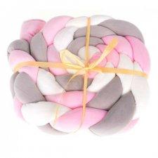 Chránič do postieľky 8x200cm - ružový/sivý/biely