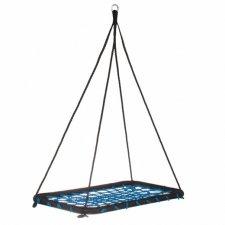Hojdací kruh pavučina Obdĺžnik - 140x80cm - modrý