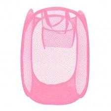 Skladací odkladací košík so sieťovinou farba ružová