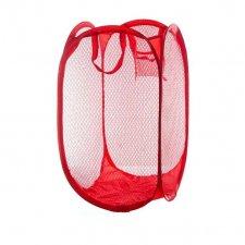 Skladací odkladací košík so sieťovinou farba červená