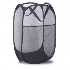 Skladací odkladací košík so sieťovinou farba čierny