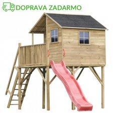 Drevený záhradný domček pre deti JOSH MAX + šmýkalka