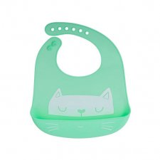 Silikónový podbradník zelená mačička