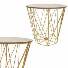 SPRINGOS drôtený konferenčný stolík Vintage 39cm - zlatý