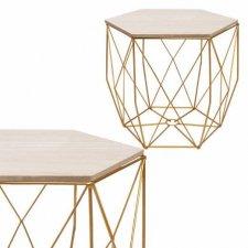 SPRINGOS drôtený konferenčný stolík Vintage hranatý 40cm - zlatý