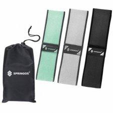 SPRINGOS Fitness guma na cvičenie Hip Band - S, M, L - 3 ks - mätová, sivá, čierna