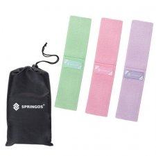 SPRINGOS Fitness guma na cvičenie Hip Band - S, M, L - 3 ks - zelená, ružová, fialová