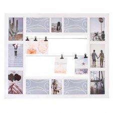 SPRINGOS Fotorámik na 12 fotografií multiframe + 6 klipov - biely