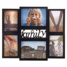 SPRINGOS Fotorámik na 6 fotografií multiframe FAMILY - čierny
