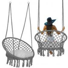 Springos hojdacie kreslo s operadlom a so strapcami - 60x60x44cm - sivé