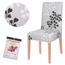 SPRINGOS Návlek na stoličku univerzálny - sivo-čierne listy