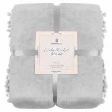 SPRINGOS Prehoz na posteľ s malými pomponmi 160x200 cm - svetlo sivý
