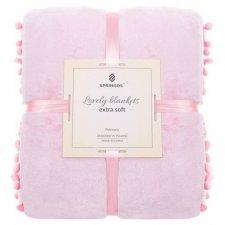 SPRINGOS Prehoz na posteľ s malými pomponmi 200x220 cm - ružový