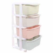 SPRINGOS Regál so zásuvkami na kolieskach - 4 farebné police