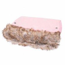 SPRINGOS Rukávnik na kočík s kožušinou Luxury - ružový