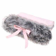 SPRINGOS Rukávnik na kočík s kožušinou Luxury - sivo-ružový