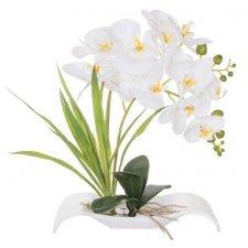 SPRINGOS Umelá orchidea v črepníkovom člne biela - 40cm