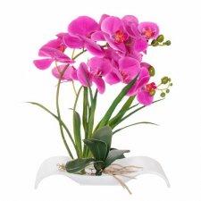 SPRINGOS Umelá orchidea v črepníkovom člne ružová - 40cm