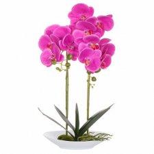 SPRINGOS Umelá orchidea v črepníkovom tanieri ružová - 55cm
