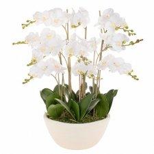 SPRINGOS Umelá orchidea v črepníku biela - 70cm - 51 kvetov - bez črepníka