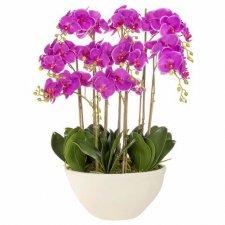 SPRINGOS Umelá orchidea v črepníku fialová - 70cm - 51 kvetov