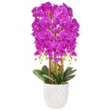 SPRINGOS Umelá orchidea v črepníku fialová - 80cm