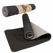 SPRINGOS Yoga podložka na cvičenie Premium - čierna-sivá - 183cm
