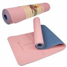 SPRINGOS Yoga podložka na cvičenie Premium - ružová-modrá - 183cm