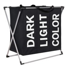 Trojitý kôš na prádlo 130l – čierny