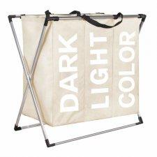 Trojitý kôš na prádlo 130l – krémový