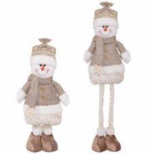 Vianočná ozdoba Snehuliak na teleskopických nožičkách 50-75cm - hnedý