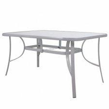 Záhradný stôl 150cm: kov + sklo, šedý
