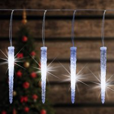 Vianočná LED svetelná reťaz vonkajšia - 15 cencúle - 270LED - 5,6M Studená biela
