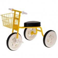 Detská retro trojkolka s košíkom - žltá