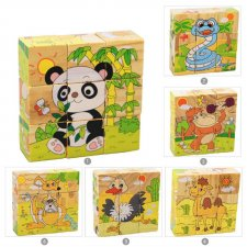 Drevené puzzle kocky: Safari
