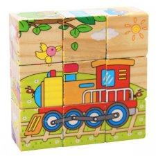 Drevené puzzle kocky: Dopravné prostriedky