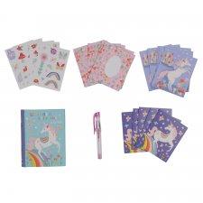 Pohľadnice Jednorožec set s nálepkami a perom