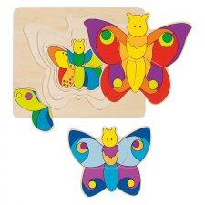 Puzzle Motýľ 4 vrstvy 11ks