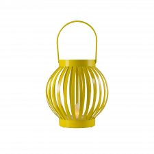 Lampáš s čajovou sviečkou, kovový, žltá