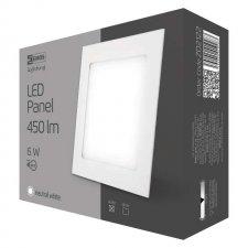 LED stropné vstavané svietidlo štvorec 6W IP20 neutrálna biela