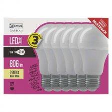 LED žiarovka Classic A60 9W E27 teplá biela 6ks