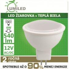 LED ŽIAROVKA MR16 12V 6W TEPLÁ BIELA 540LM