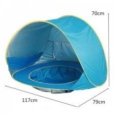 Plážový stan POP-UP s detským bazénom - modrý