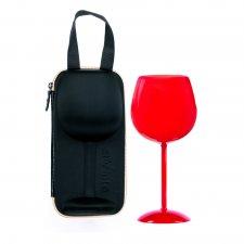 Romantický pohár na víno s puzdrom - červená