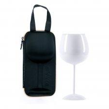 Romantický pohár na víno s puzdrom - biela