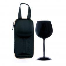 Romantický pohár na víno s puzdrom - čierna