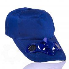 Solárna šiltovka s ventilátorom - modrá