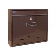 Poštová schránka, kovová, hnedá, s dvierkami, štítkom a čelným košom, 310 x 360 x 90 mm