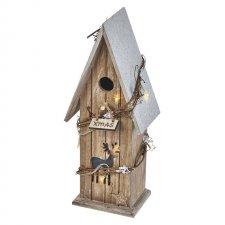 Vianočná dekorácia DOMČEK drevený s časovačom 8LED IP20 2xAA teplá biela