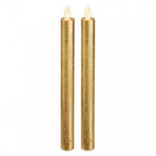LED sviečky, 25cm, metalické zlaté, 2× AAA, jantarová, 2 ks